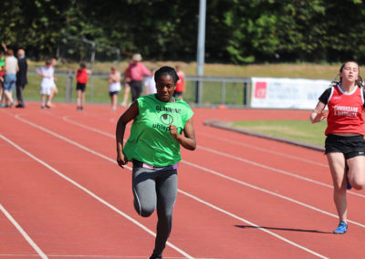 Victory Arikawe, winner of the u16 100m in the Cork Community Games