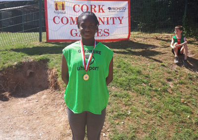 Victory Arikawe winning gold in the u16 100m