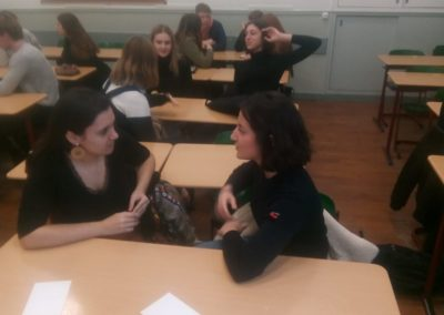 Irish and French students exchanging information and sharing cultural differences in class 16/1/19