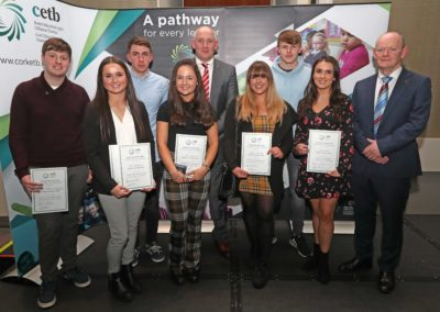 At the Cork ETB Awards Ceremony for Achieving Excellence in the 2018 Leaving Certificate were (from left to right) GCC students Robbie Callaghan, Zoe Littlejohns, Shane Crowe, Jade Lagrue, Jessica Farrelly, James Walshe and Aoife Owens. Also included are (centre) GCC Principal  Mr Ronan McCarthy and (far right) former GCC Principal Mr Pat McKelvey Director of Schools Cork ETB.