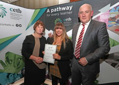 GCC student Jessica Farrelly receiving a Special Commendation Certificate for achieving 555 points in the 2018 Leaving Certificate from Ms Sheila Quill Director of Organisation Support & Development Cork ETB. Also pictured is GCC Principal Ronan McCarthy.