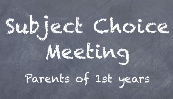 1st Year Parent/Guardian information Seminar – Monday 9th December
