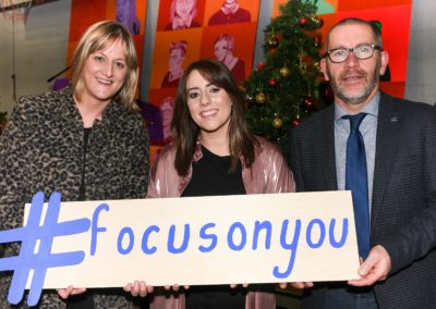 Grainne Ni Laoithe, teacher and organiser, with Cork singer/songwriter Stephanie Rainey and Seamus Kennefick, deputy principal, at the launch of the Glanmire Community College, Cork, well-being video 'What Makes You Happy'. Picture: David Keane.  06.12.2019