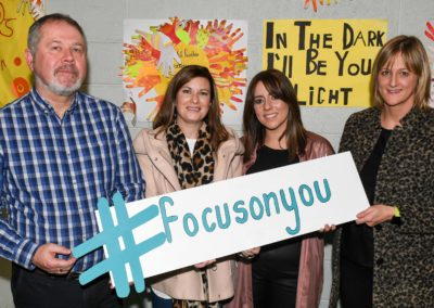 Dick White and Aisling O'Connor of Focus Ireland and Cork singer/songwriter Stephanie Rainey along with teacher and organiser Grainne Ni Laoithe, attending the launch of the Glanmire Community College, Cork, well-being video 'What Makes You Happy'. Picture: David Keane.  06.12.2019