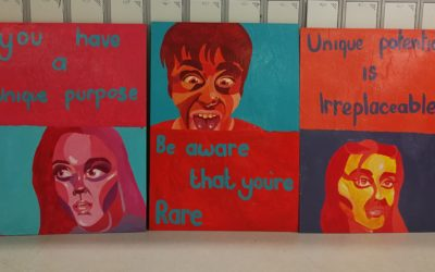Leaving Cert Student Art work displayed in Social Area